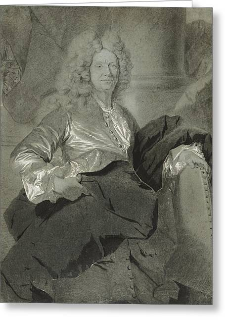 Portrait Of A Man Hyacinthe Rigaud, French Greeting Card by Litz Collection