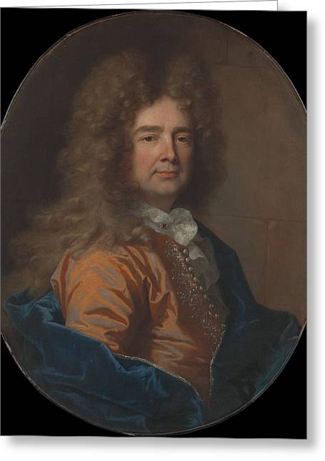 Portrait Of A Man Greeting Card by Hyacinthe Rigaud