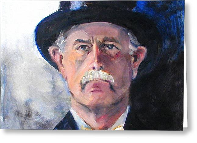 Greeting Card featuring the painting Portrait Of A Man In Top Hat by Greta Corens