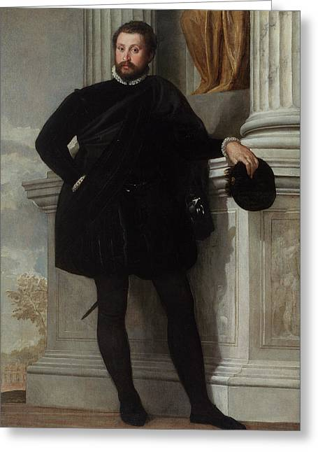 Portrait Of A Man Paolo Veronese Paolo Caliari Greeting Card