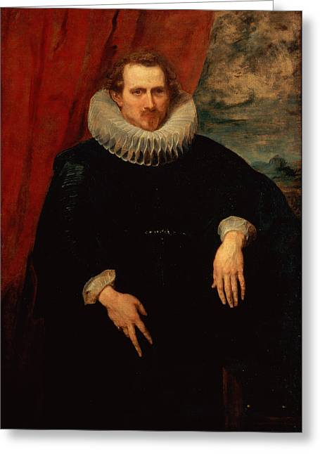 Portrait Of A Man Greeting Card by Sir Anthony van Dyck