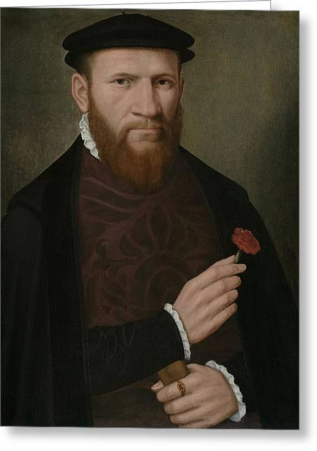Portrait Of A Man With His Right Hand Greeting Card by Master of the 1540s