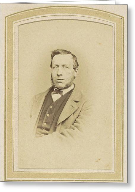 Portrait Of A Man With Sideburns, A Bow Tie And A Vest Greeting Card