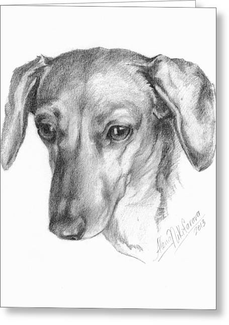Portrait Of A Mini Dachshund  Greeting Card