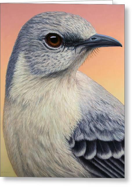 Portrait Of A Mockingbird Greeting Card by James W Johnson