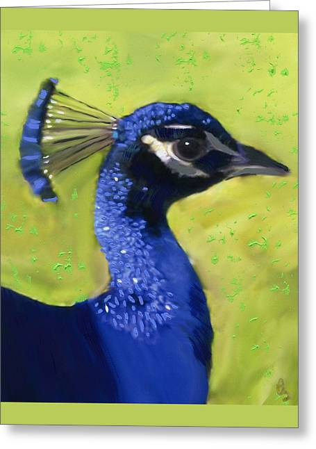 Portrait Of A Peacock Greeting Card