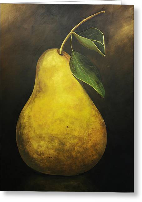 Portrait Of A Pear Greeting Card by Terri  Meyer