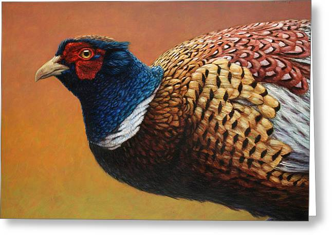 Portrait Of A Pheasant Greeting Card by James W Johnson