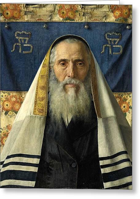Portrait Of A Rabbi With Prayer Shawl Greeting Card by Isidor Kaufmann