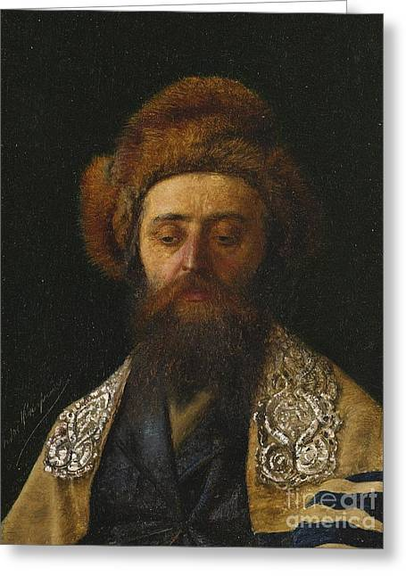 Portrait Of A Rabbi With Tallit Greeting Card by Celestial Images