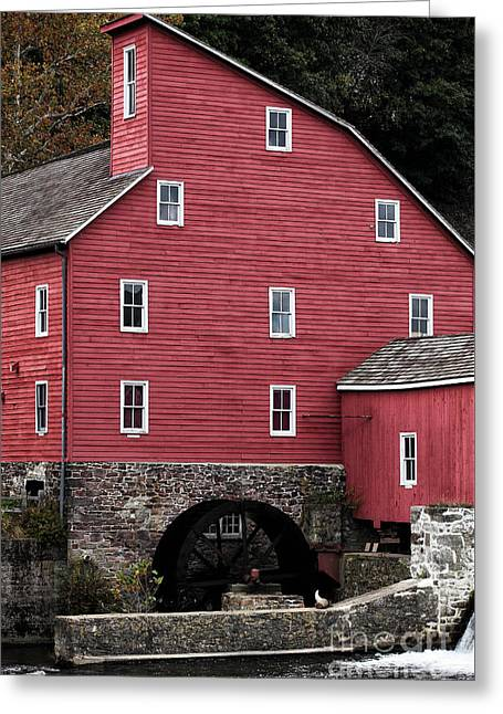 Portrait Of A Red Mill Greeting Card by John Rizzuto