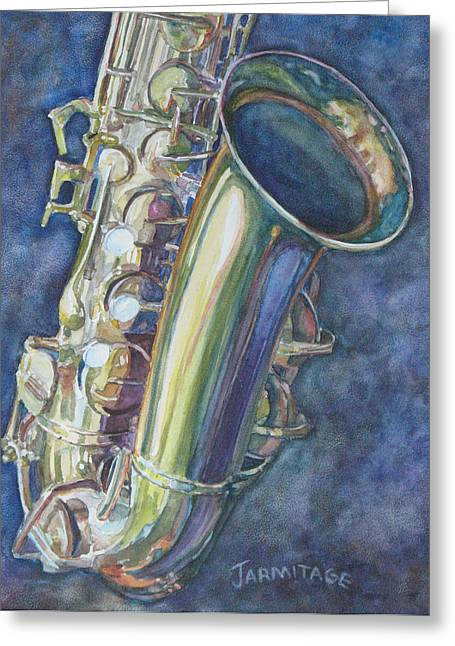Portrait Of A Sax Greeting Card by Jenny Armitage