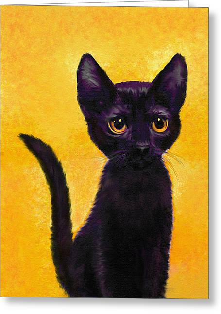 portrait of a small black cat named  LuLu Greeting Card