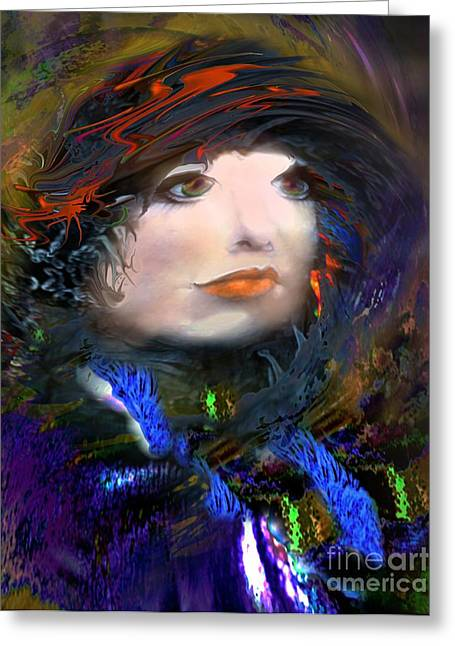 Portrait Of A Woman From A Long Time Ago Greeting Card by Doris Wood