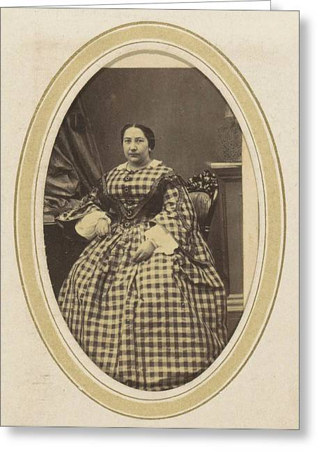 Portrait Of A Woman In A Plaid Dress, N. Hense Greeting Card