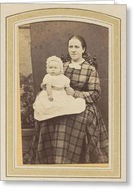 Portrait Of A Woman In A Plaid Dress With A Baby On Lap Greeting Card