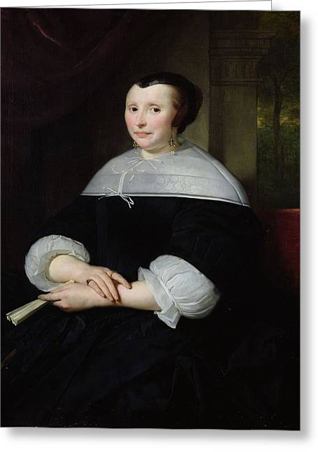 Portrait Of A Woman Oil On Canvas Greeting Card by Abraham Lamberts Jacobsz van den Tempel