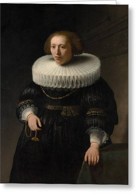 Portrait Of A Woman Greeting Card by Rembrandt van Rijn