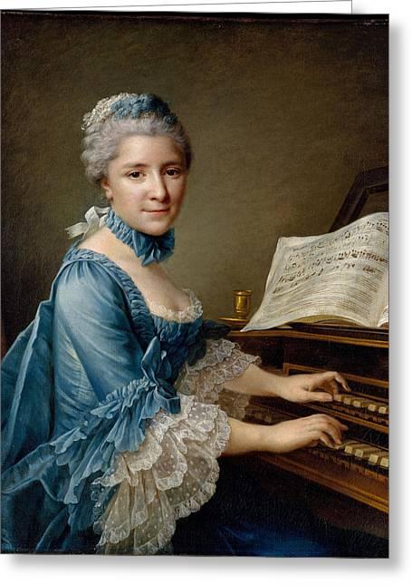 Portrait Of A Woman Said To Be Madame Charles Simon Favart Greeting Card