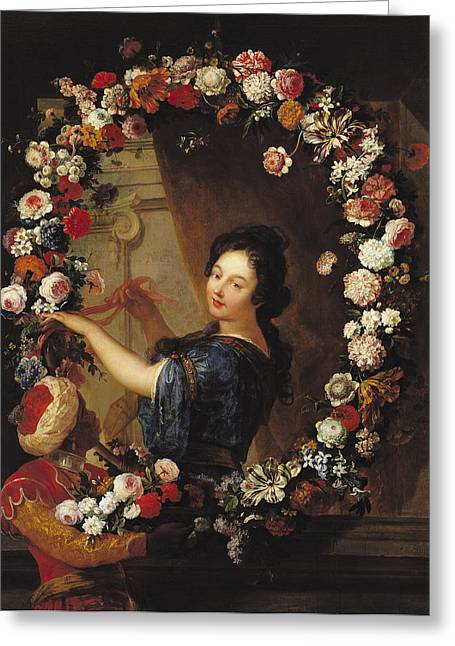 Portrait Of A Woman Surrounded By Flowers, Presumed To Be Julie Dangennes Oil On Canvas Greeting Card