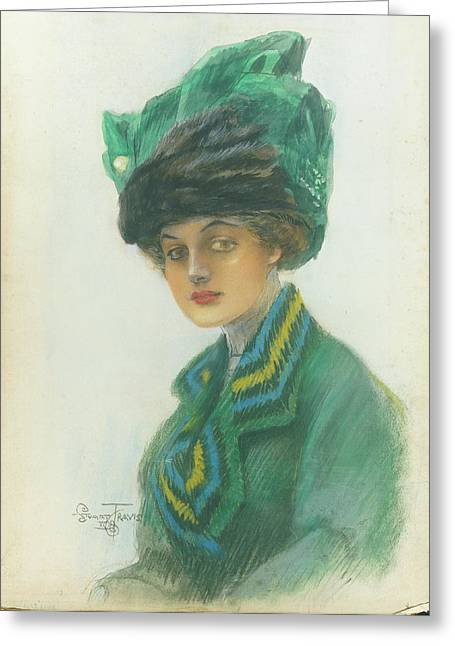 Portrait Of A Woman Wearing A Green Gown Greeting Card by Stuart Travis