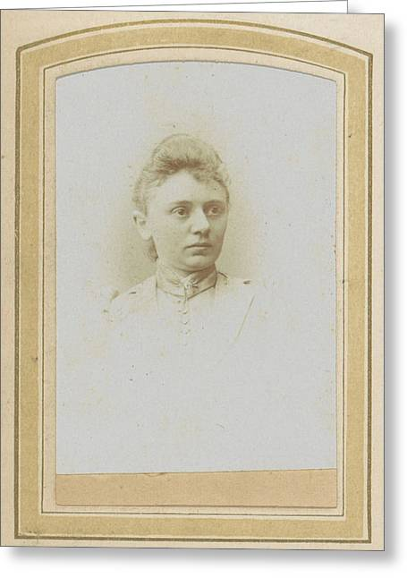 Portrait Of A Woman With A High-necked Blouse With Pin Greeting Card by Artokoloro