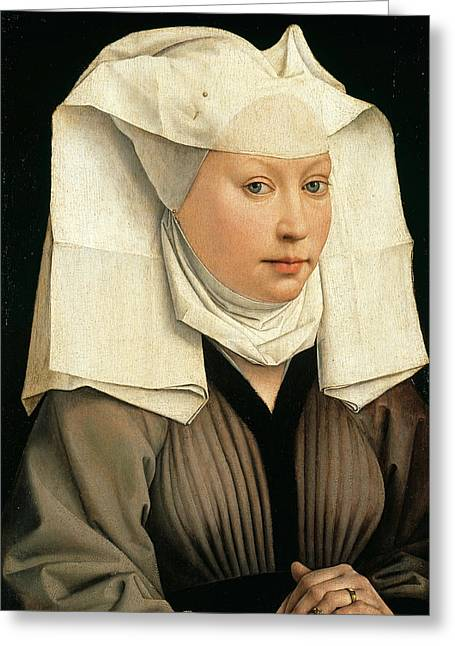 Portrait Of A Woman With A Winged Bonnet Greeting Card