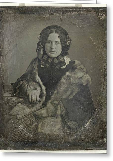 Portrait Of A Woman With Fur Stoles, Anonymous Greeting Card by Artokoloro