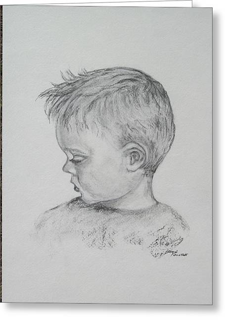 Portrait Of A Young Boy Greeting Card by Paula Rountree Bischoff