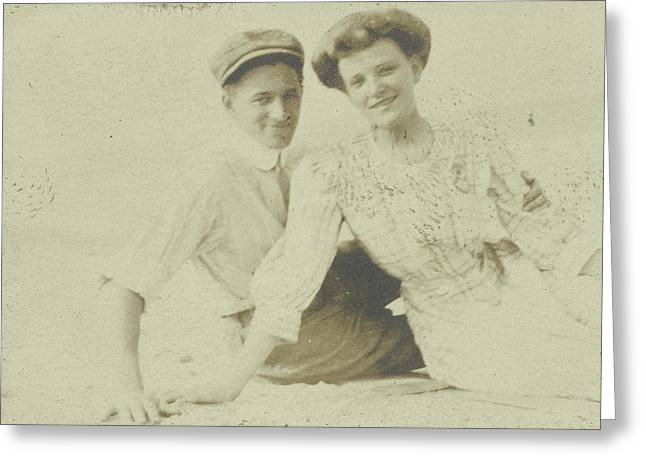 Portrait Of A Young Couple In The Outdoors Encased Greeting Card