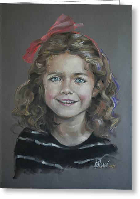 Portrait Of A Young Girl Greeting Card by Mary Machare