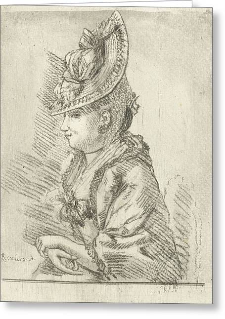 Portrait Of A Young Lady With Hat In Profile Greeting Card by Louis Bernard Coclers