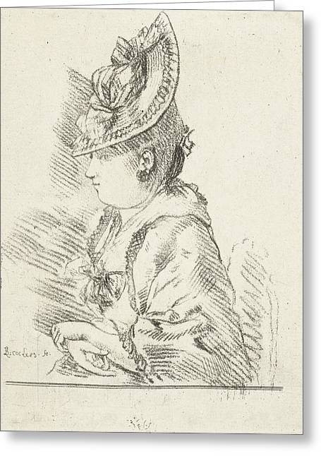 Portrait Of A Young Lady With Hat In Profile To The Left Greeting Card by Louis Bernard Coclers