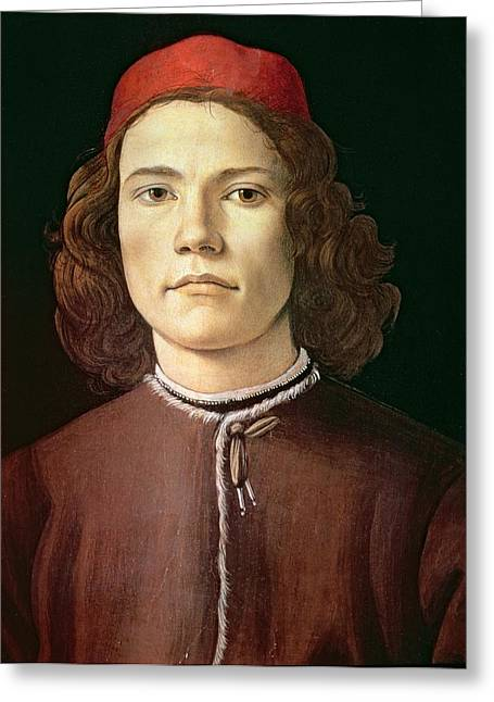 Portrait Of A Young Man, C.1480-85 Tempera & Oil On Panel Greeting Card