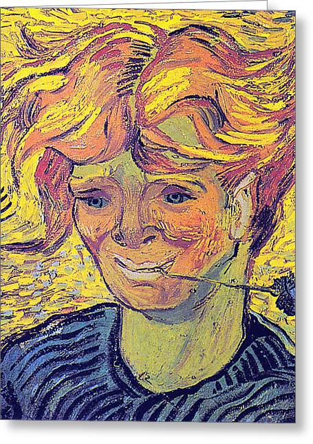 Portrait Of A Young Man With Cornflower Greeting Card by Vincent Van Gogh