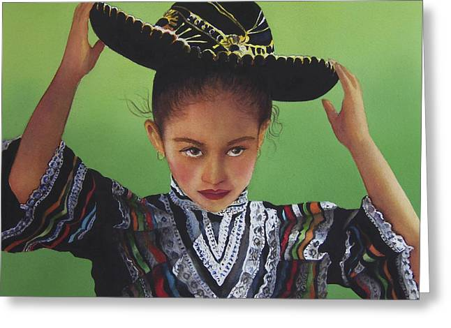Portrait Of A Young Mexican Girl Greeting Card