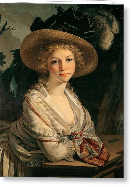 Portrait Of A Young Woman Oil On Canvas Greeting Card by Pierre-Paul Prud'hon