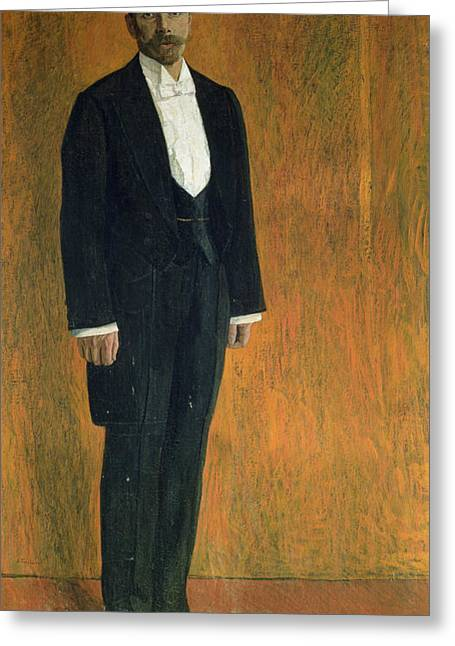 Portrait Of Alexander Skryabin 1872-1915 Gouache & Pastel On Cardboard Greeting Card by Aleksandr Jakovlevic Golovin