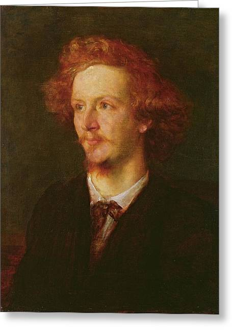 Portrait Of Algernon Charles Swinburne 1837-1909 1867 Oil On Canvas Greeting Card by George Frederick Watts
