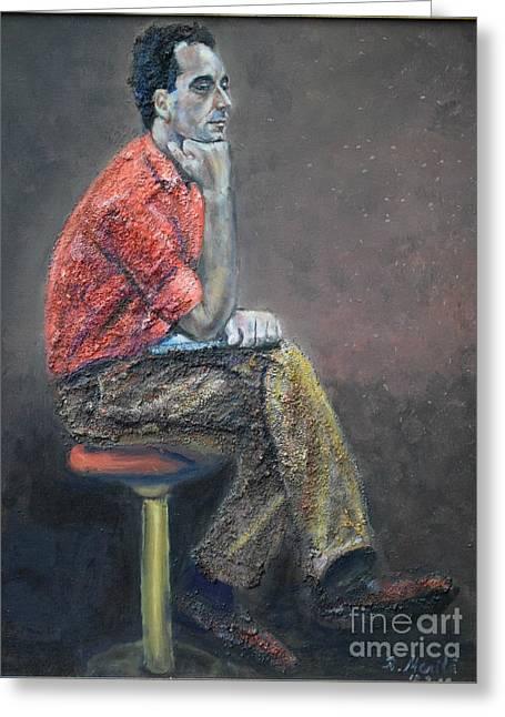 Portrait Of Ali Akrei - The Painter Greeting Card