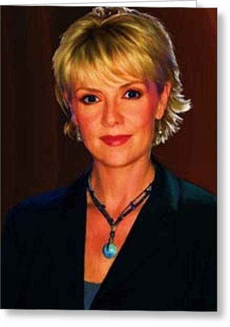 Portrait Of Amanda Tapping Greeting Card by P Dwain Morris