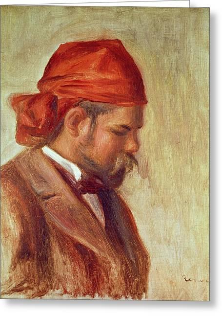 Portrait Of Ambroise Vollard 1868-1939 Oil On Panel Greeting Card by Pierre Auguste Renoir