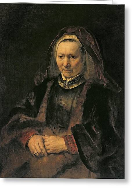 Portrait Of An Elderly Woman, C. 1650 Greeting Card by Rembrandt Harmensz. van Rijn
