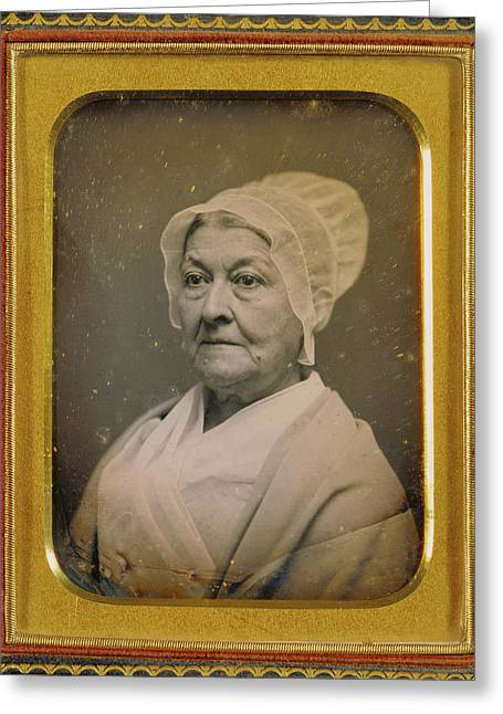 Portrait Of An Elderly Woman In An Amish-like Bonnet Greeting Card