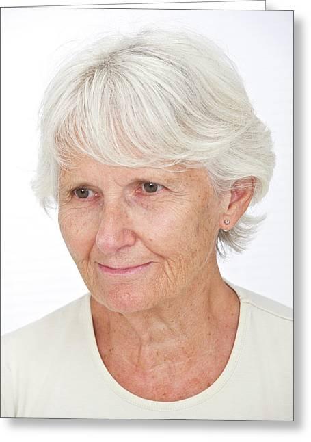 Portrait Of An Elderly Woman Greeting Card