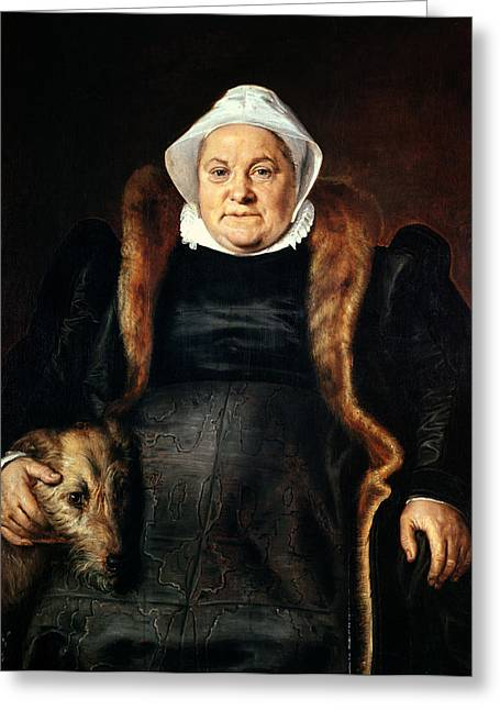 Portrait Of An Elderly Woman Or, The Falconers Wife, 1558 Oil On Canvas Greeting Card
