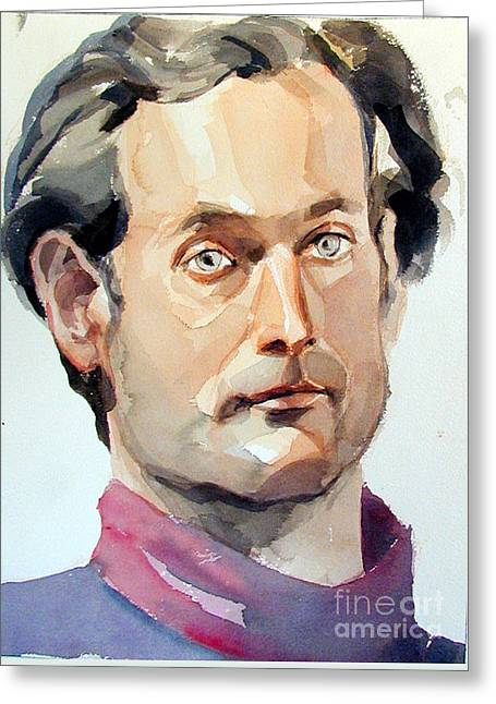 Watercolor Portrait Of A Man With Pale Blue Eyes Greeting Card