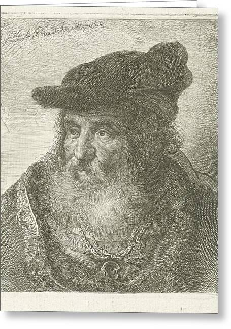 Portrait Of An Old Man With Beret, Johannes Mock Greeting Card