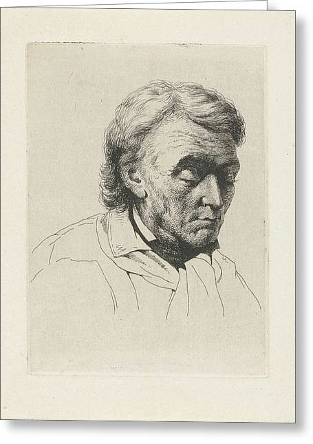 Portrait Of An Old Man With Closed Eyes, Jean Zacherie Mazel Greeting Card