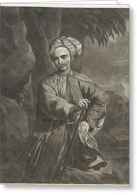 Portrait Of An Oriental With A Turban, Print Maker Arnout Greeting Card